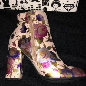 BAMBOO Shoes - ✨SOLD ✨ Pink Floral Namaste Bootie Heels - NIB
